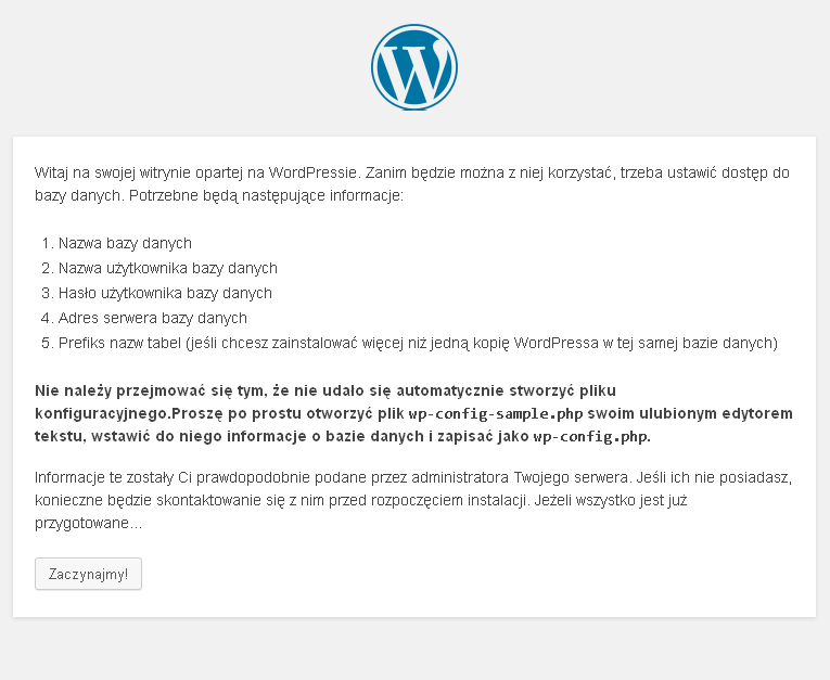 kreator konfiguracji wordpress