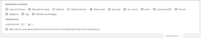 Własne pola WP - wł. opcji ekranu